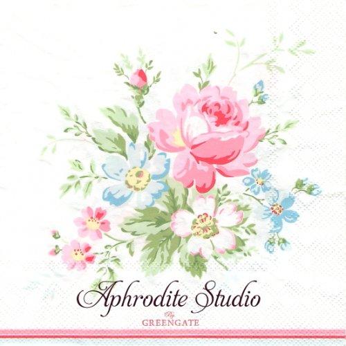 北欧 グリーン・ゲート Marie 薔薇 お花 1枚 バラ売り 33cm ペーパーナプキン GREENGATE