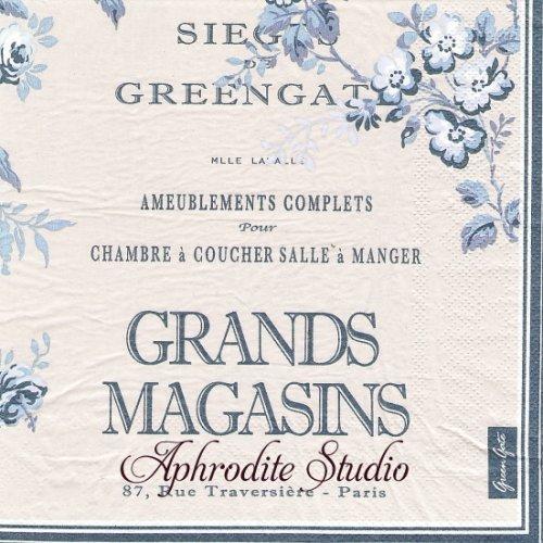 北欧 グリーン・ゲート Camille グレー ブルー 薔薇 お花 1枚 バラ売り 33cm ペーパーナプキン GREENGATE