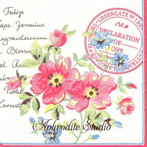 北欧 グリーン・ゲート 野薔薇2輪 薔薇 お花 1枚 バラ売り 33cm ペーパーナプキン GREENGATE