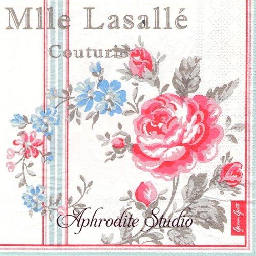 北欧 グリーン・ゲート Mille Lasalle 薔薇 お花 1枚 バラ売り 33cm ペーパーナプキン GREENGATE