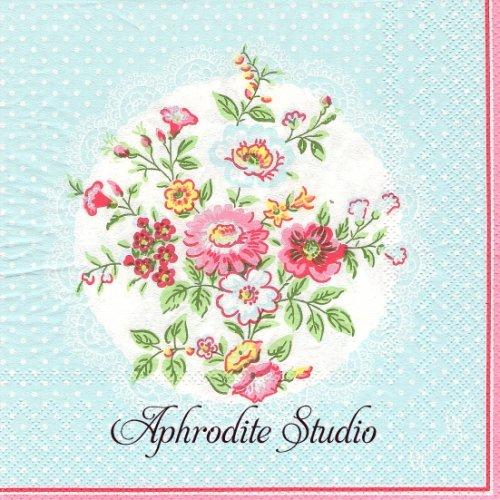 北欧 グリーン・ゲート 水色 レースドイリー 薔薇のブーケ お花 1枚 バラ売り 33cm ペーパーナプキン GREENGATE
