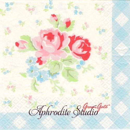 北欧 グリーン・ゲート 水色 薔薇のブーケ お花 1枚 バラ売り 33cm ペーパーナプキン GREENGATE