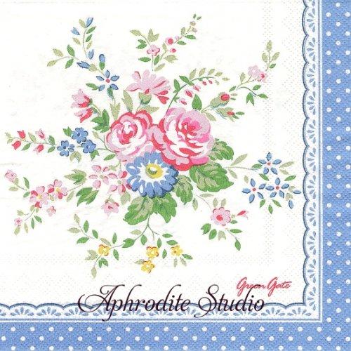 北欧 グリーン・ゲート ブルー お花のブーケ 1枚 バラ売り 33cm ペーパーナプキン GREENGATE