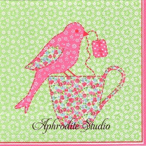 北欧 グリーン・ゲート ライトグリーン パッチワークの小鳥 小花 1枚 バラ売り 33cm ペーパーナプキン GREENGATE