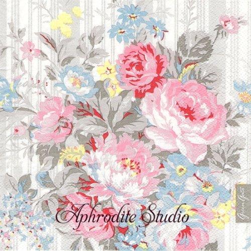 北欧 グリーン・ゲート グレー 薔薇ブーケ 1枚 バラ売り 33cm ペーパーナプキン GREENGATE