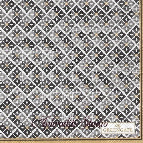 25cm 北欧 グリーン・ゲート Sandra ブラック 模様 1枚 バラ売り ペーパーナプキン GREENGATE