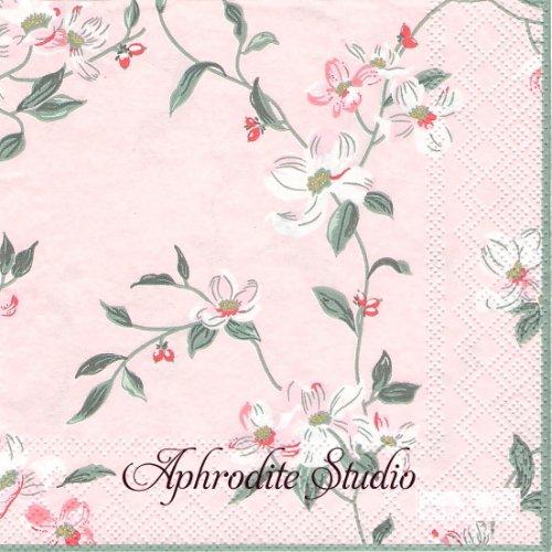 25cm 北欧 グリーン・ゲート JOLIE ピンク ハナミズキ 花水木 花 1枚 バラ売り ペーパーナプキン GREENGATE