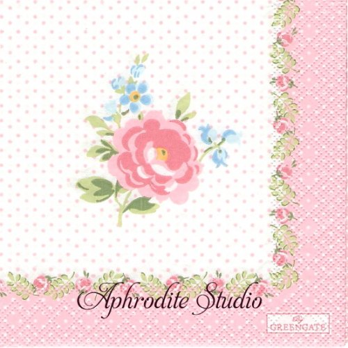 25cm 北欧 グリーン・ゲート Lily ピンク ドット 薔薇 花 1枚 バラ売り ペーパーナプキン GREENGATE