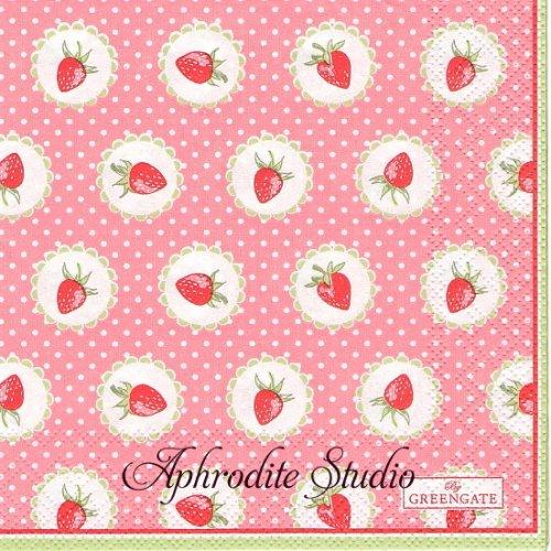 25cm 北欧 グリーン・ゲート Strawberry ピンク ドット 1枚 バラ売り ペーパーナプキン GREENGATE