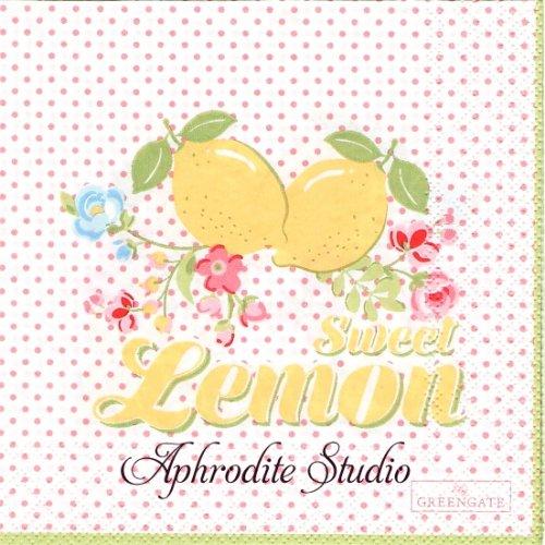 25cm 北欧 グリーン・ゲート Limona ピンク ドット レモン 1枚 バラ売り ペーパーナプキン GREENGATE