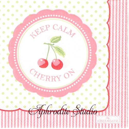 25cm 北欧 グリーン・ゲート Cherry ピンク チェリー さくらんぼ 1枚 バラ売り ペーパーナプキン GREENGATE
