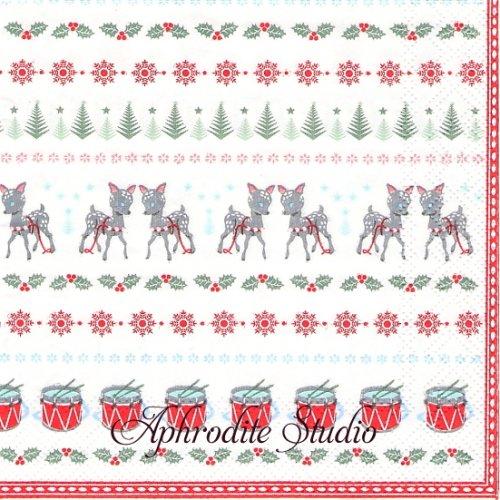25cm 北欧 グリーン・ゲート Bambi バンビ クリスマス 1枚 バラ売り ペーパーナプキン GREENGATE