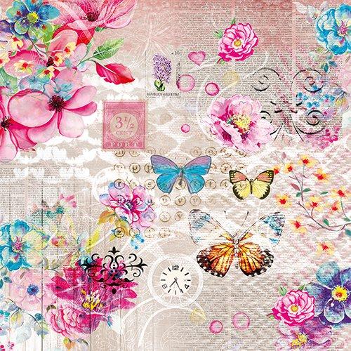 Nora ピンク 蝶と花のコラージュ 1枚 バラ売り 33cm ペーパーナプキン PAPSTAR