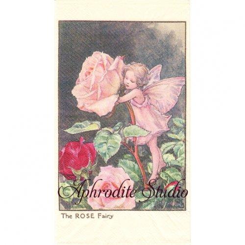 フラワーフェアリーズ 薔薇の花の妖精 ローズ ペーパーナプキン 1枚 40x33cm デコパージュ バラ売り Flower Fairies