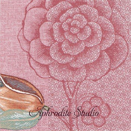 ピップスタジオ Spring to Life ピンク お花 小鳥 和柄1枚 バラ売り 33cm ペーパーナプキン PIP STUDIO