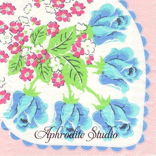 北欧 ライス 青い薔薇 昭和レトロ 1枚 バラ売り 33cm ペーパーナプキン デコパージュ用 rice