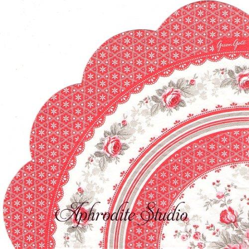 32cm 北欧 廃盤 グリーン・ゲート SOPHIE レッド 薔薇 1枚 バラ売り サークル スカラップ型ペーパーナプキン GREENGATE