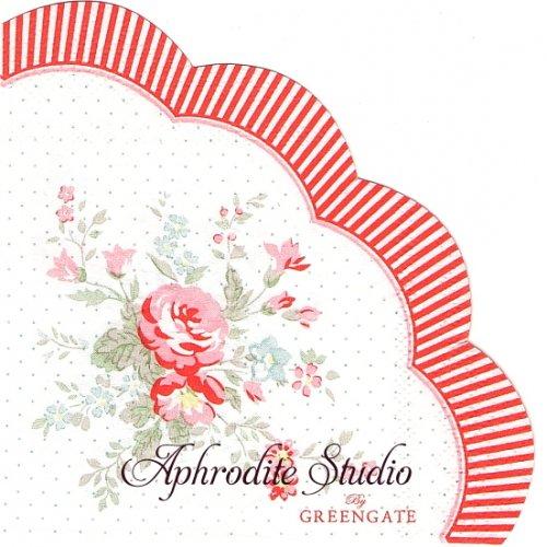25cm 北欧 廃盤 グリーン・ゲート 薔薇 1枚 バラ売り サークル スカラップ型ペーパーナプキン GREENGATE