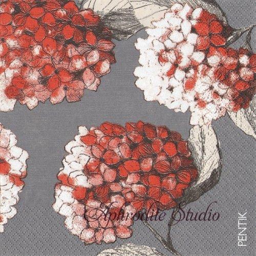 1パック20枚 北欧 ペンティック HORTENSIA 紫陽花 オレンジ 33cm ペーパーナプキン PENTIK