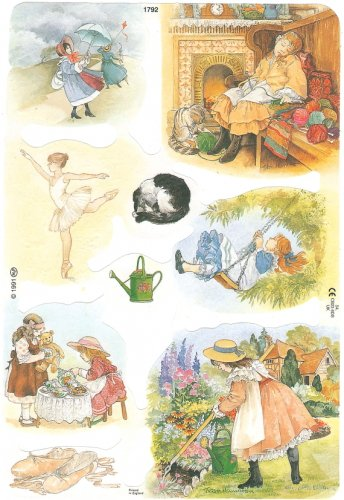 クロモス 廃盤品 少女と猫、バレリーナ  1枚 【1792】 ステッカー シール イギリス製