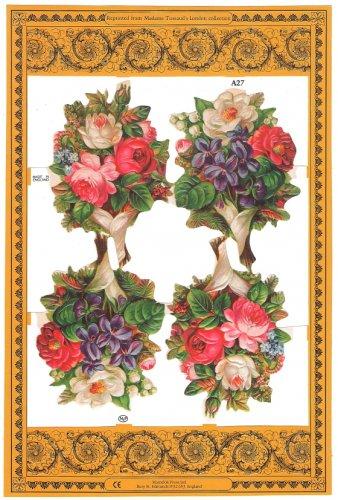 クロモス 花のブーケ ヴィクトリアン 1枚 【A27】 ステッカー シール イギリス製