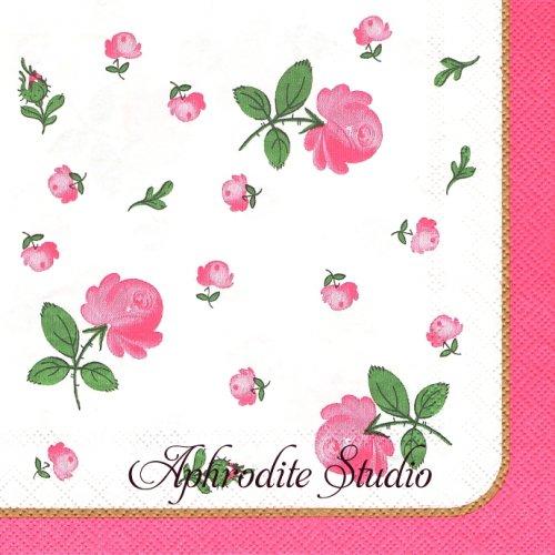 アウガルテン ウィンナーローズ ピンク 1枚 バラ売り 33cm ペーパーナプキン AUGARTEN