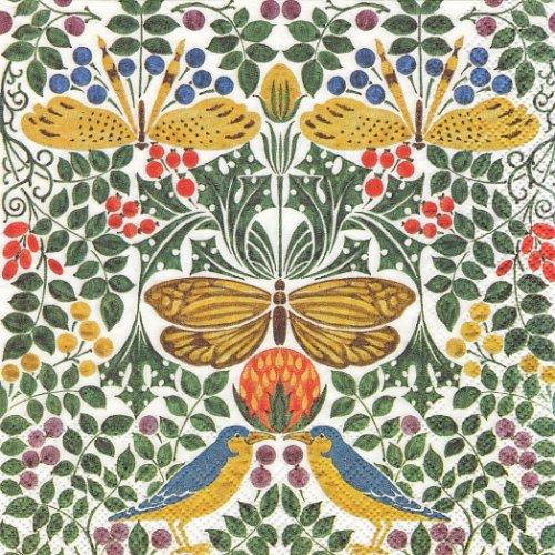25cm 1パック20枚 V&A Bird and Butterflies 鳥と蝶 ペーパーナプキン Ihr