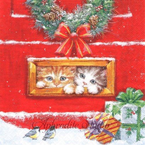 1パック20枚 Letterbox Talk 郵便受けの子猫 クリスマス 33cm ペーパーナプキン ti-flair