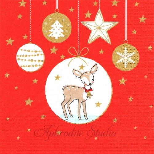 1パック20枚 Christmas Ornaments レッド バンビのオーナメント クリスマス Wiebke 33cm ペーパーナプキン デコパージュ用 ppd