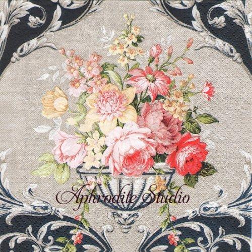 1パック20枚 Royal Bouquet Uronの花束 クラシック調 リネン 33cm ペーパーナプキン Paw