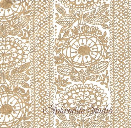 24cm 1パック20枚 北欧 フィンレイソン TAIMI ゴールド タイミ お花 和紙風 Decorated ペーパーナプキン Finlayson Suomen Kerta