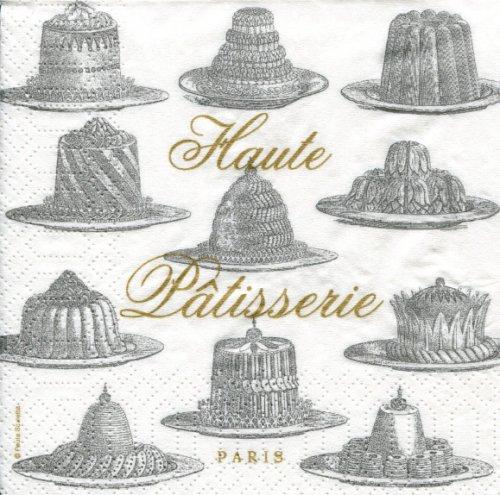 25cm 1パック20枚 Haute Patisserie シルバー Paula Scaletta ヴィンテージ柄 ペーパーナプキン ppd