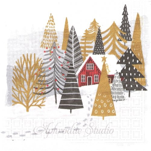 1パック20枚 Mountain Lodge 山小屋 クリスマス World Art 33cm ペーパーナプキン ppd