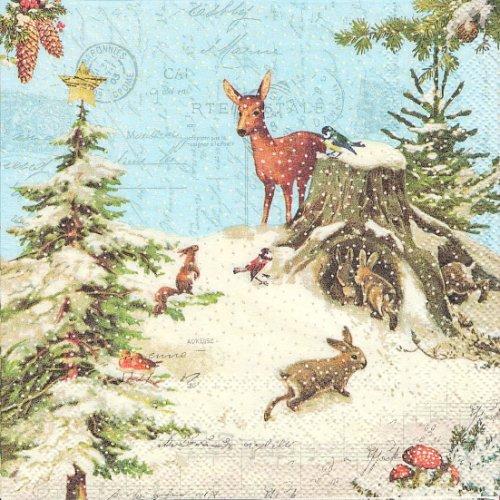 1パック20枚 廃盤 X'mas 雪ふる森の風景 バンビ うさぎ 33cm ペーパーナプキン stewo