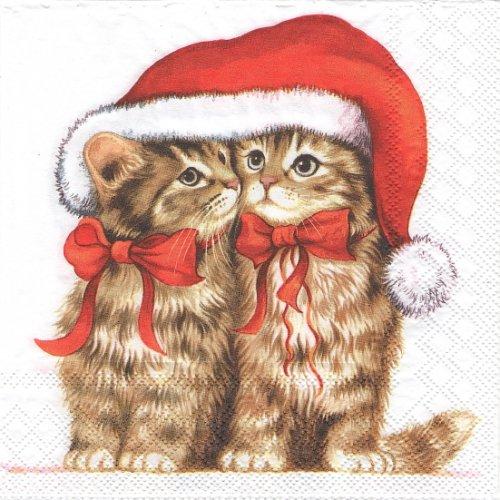 1パック20枚 廃盤 DRESSED KITTEN サンタ帽子 子猫キャット 33cm ペーパーナプキン Ambiente