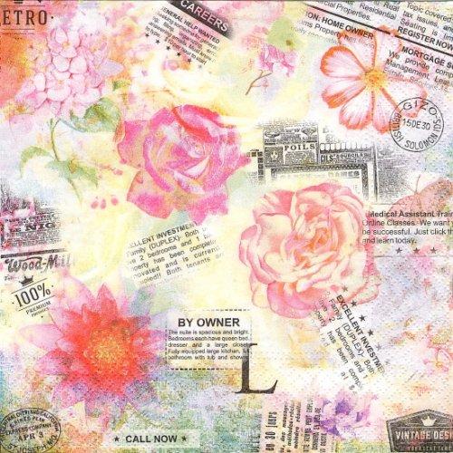 1パック20枚 Nouvelle 薔薇とチケット コラージュ柄 33cm ペーパーナプキン Nouveau