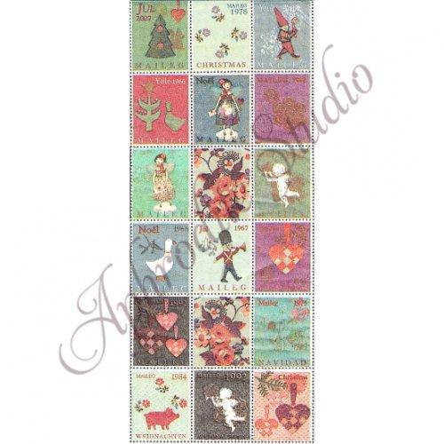 1パック16枚 33x40cm 北欧 メイレグ Christmas Stamp クリスマス・スタンプ ペーパーナプキン Maileg
