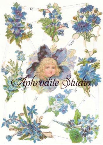 ☆ドイツ製クロモス【7101-S】青い花の少女 シルバーラメ 1シート アンティークなカ—ド作りに
