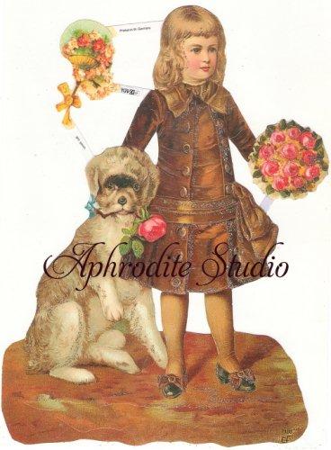☆ドイツ製クロモス【7108-S】少年と犬 シルバーラメ 1シート アンティークなカ—ド作りに