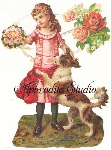 ☆ドイツ製クロモス【7109-S】少女と犬 シルバーラメ 1シート アンティークなカ—ド作りに