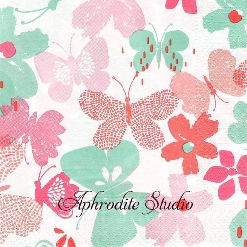 英国 ウェイトローズ GRAPHIC BUTTERFLY ピンク 蝶 バタフライ 1枚 バラ売り 33cm ペーパーナプキン Waitrose