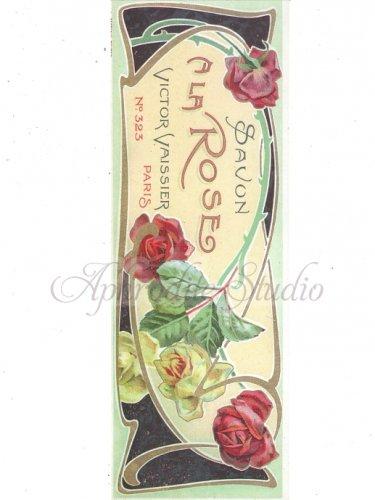 【A LA ROSE】薔薇 ローズ コラージュペーパー レプリカ 石鹸ラベル クラフト、ラッピングに