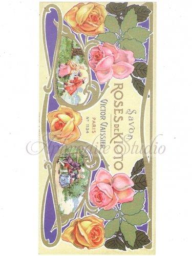 【SAVON ROSES DE KIOTO】薔薇 ローズ コラージュペーパー レプリカ 石鹸ラベル クラフト、ラッピングに