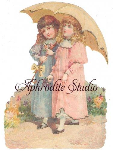 ☆ドイツ製 厚手大き目のクロモス【BK5158】Children with Umbrella 傘をさす子供達 スクラップ ダイカット アンティークスタイルのカ—ド作りやスクラップブッキングに