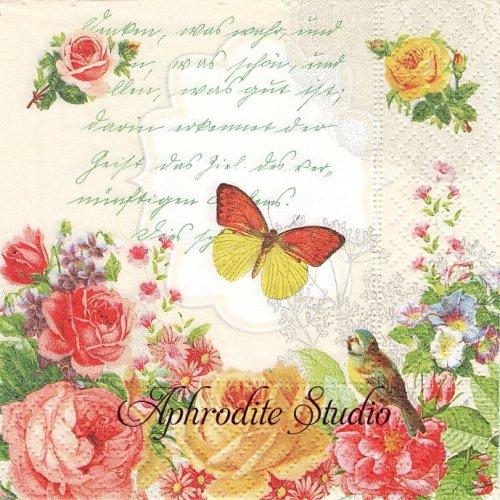 25cm Portrait of butterfly 薔薇と蝶 ヴィクトリアン 1枚 バラ売り ペーパーナプキン Paper+Design