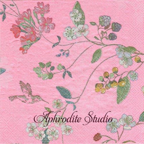 ピップスタジオ HUMMING BIRDS ピンク お花 苺、チェリー 小鳥 和柄1枚 バラ売り 33cm ペーパーナプキン PIP STUDIO