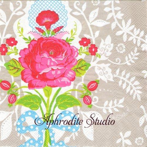 ピップスタジオ Floral カーキ お花 和柄 1枚 バラ売り 33cm ペーパーナプキン PIP STUDIO