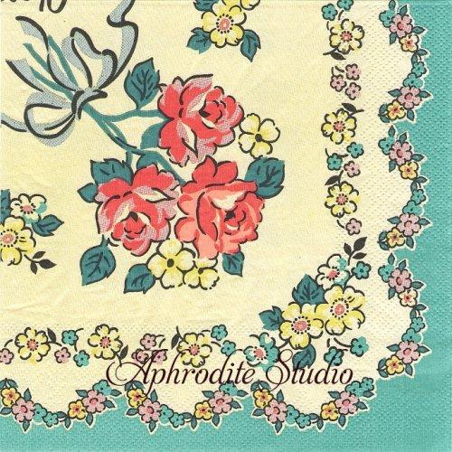 チョコホリック 薔薇の花束 昭和レトロ 1枚 バラ売り 33cm ペーパーナプキン chocoholic