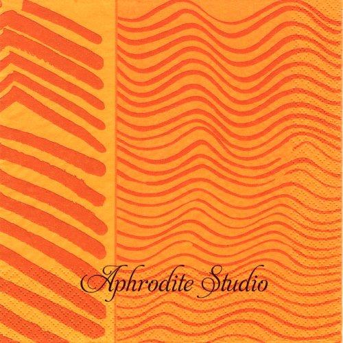 北欧 廃盤 マリメッコ 筆模様 オレンジ フィンランド製 1枚 バラ売り 33cm ペーパーナプキン marimekko