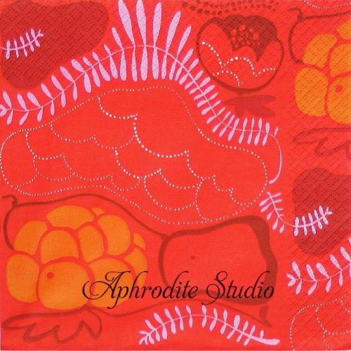北欧 廃盤 マリメッコ 花とフルーツ レッド フィンランド製 1枚 バラ売り 33cm ペーパーナプキン marimekko
